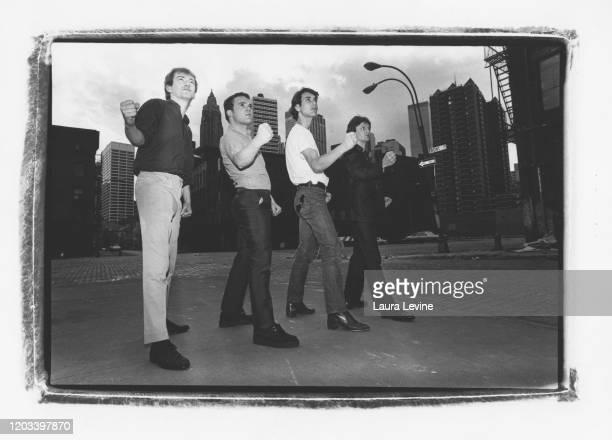 British postpunk bandGang of Four posing on the streets of Lower Manhattan NYC LR Andy Gill Hugo Burnham Jon King Dave Allen in 1980