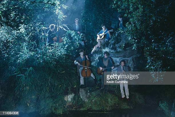 British postpunk group Echo And The Bunnymen perform in a park circa 1984