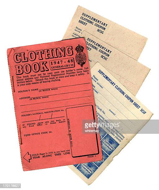 british post-war clothing coupons and book - 1947 stock pictures, royalty-free photos & images