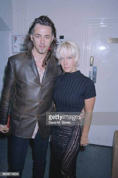 British presenter and writer Paula Yates with her husband Irish singersongwriter author political activist Bob Geldof at an after party organised by...