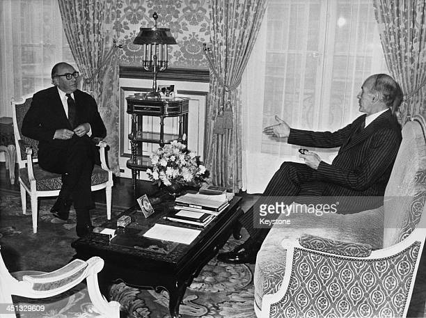 British President of the European Commission, Roy Jenkins meets with French Prime Minister Valéry Giscard d'Estaing in Paris, 27th November 1980.