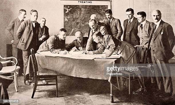 British press correspondents observing the cartographers preparing the new map of Europe following the conclusion of World War One and the Peace...