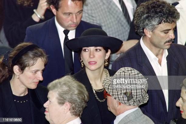 British press magnat Robert Maxwell's daughter Ghislaine attends the funeral serice for burial on the Mount of Olives of his father on November 10...
