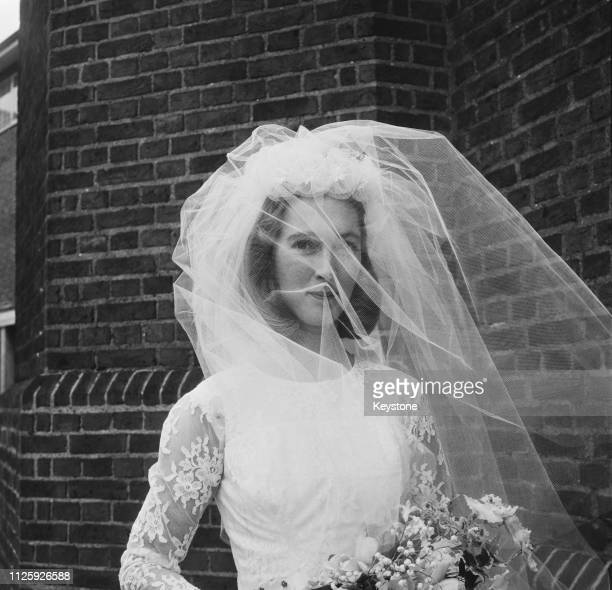 British primatologist Jane Goodall at her wedding to wildlife photographer Hugo Arndt Rodolf, Baron van Lawick at the Chelsea Old Church in London,...