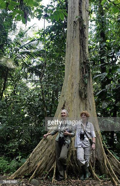 British primatologist Jane Goodall poses for a picture with Deedra McClearn director of La Selva Biological Research Station Organization for...