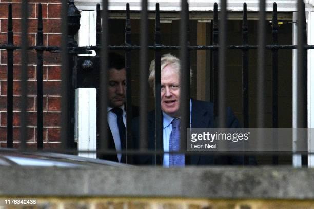 British Prime Mininster Boris Johnson departs from the rear of 10 Downing Street on October 17 2019 in London England British Prime Minister Boris...