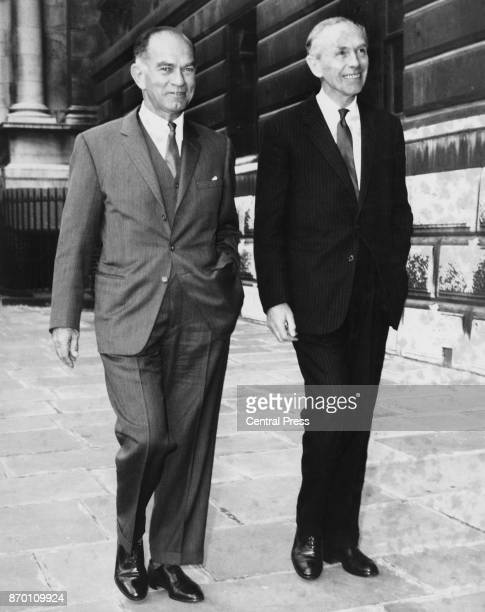 British Prime Minister Alec DouglasHome escorts J William Fulbright the Chairman of the United States Senate Committee on Foreign Relations across...