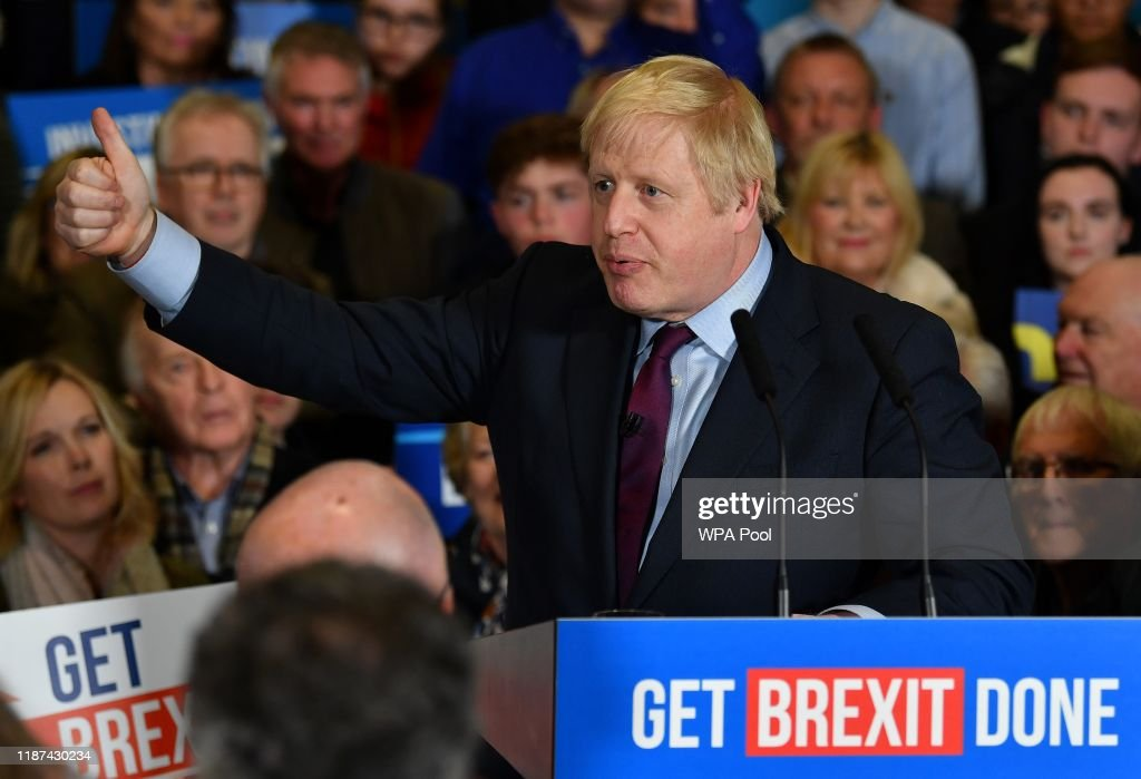 Boris Johnson Visits North East In Campaign's Final Days : News Photo