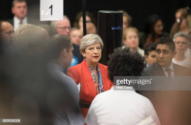 British Prime Minister and Conservative Party leader Theresa May arrives at the declaration at the election count at the Magnet Leisure Centre on...