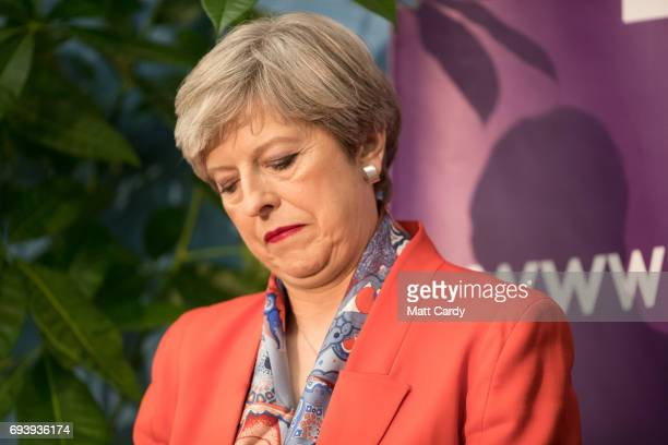 British Prime Minister and Conservative Party leader Theresa May speaks at the declaration at the election count at the Magnet Leisure Centre on June...