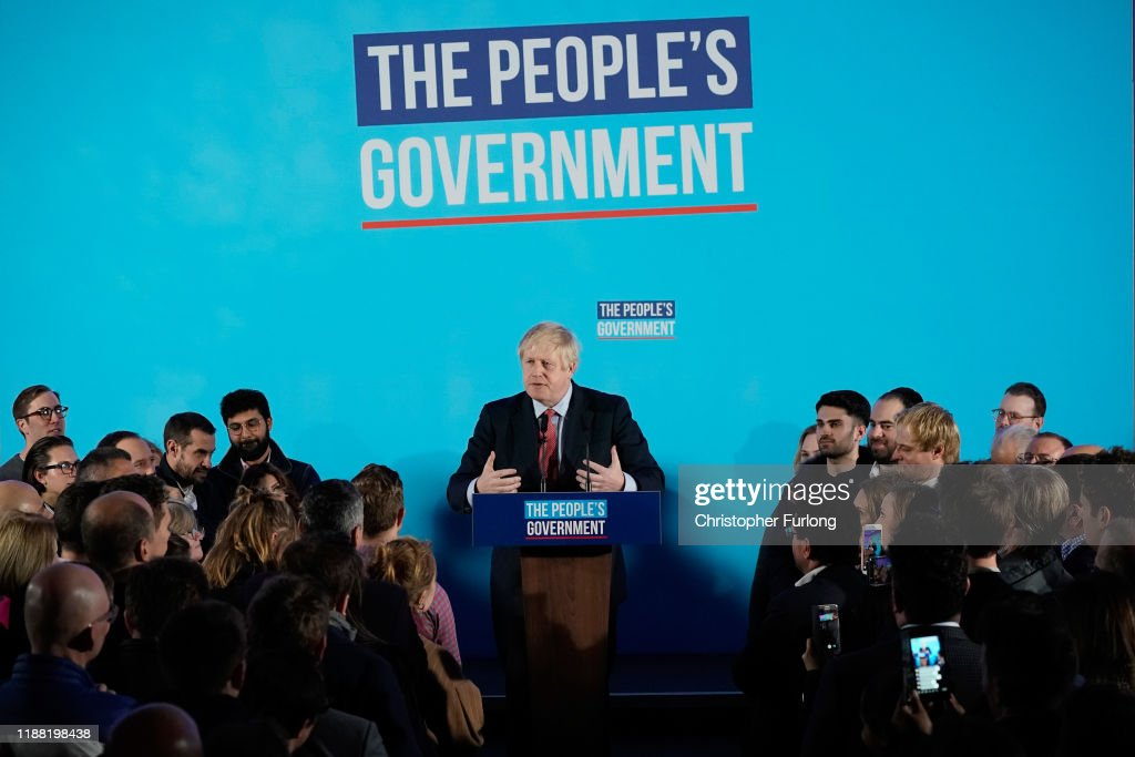 The Conservative Party Win A Clear Majority In The UK General Election : News Photo