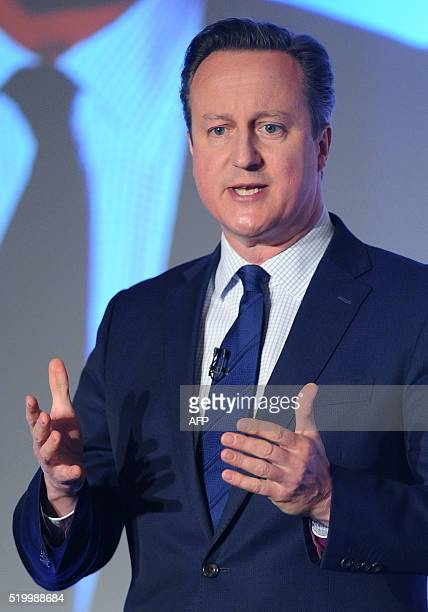 British Prime Minister and leader of the Conservatives David Cameron addresses delegates during the Conservative party Spring Forum in central London...