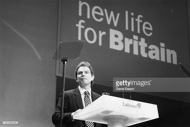 British Prime Minister and leader of the Labour Party Tony Blair at the Labour Party Conference in Blackpool 29th September 1996