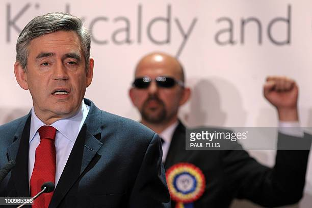 British Prime Minister and Leader of the ruling Labour Party Gordon Brown speaks after retaining his seat as MP for Kirkcaldy Cowdenbeath at the...