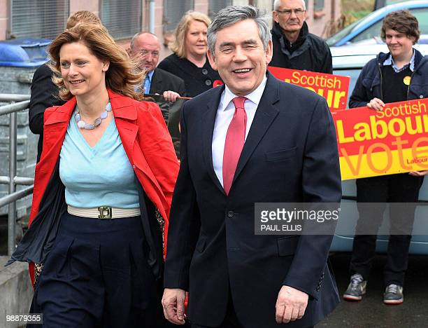British Prime Minister and Leader of the ruling Labour Party Gordon Brown arrives with his wife Sarah to cast his vote at the Polling Place in North...