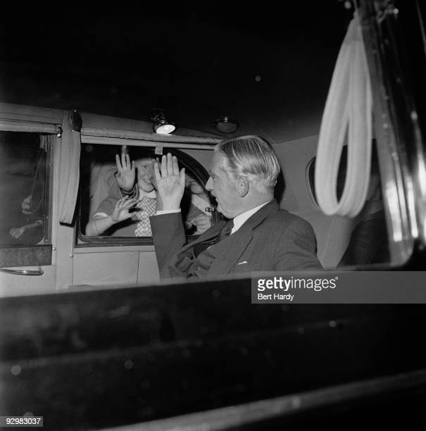 British prime minister Anthony Eden leaves the BBC television studios in London during the Suez Crisis 9th August 1956 Original publication Picture...