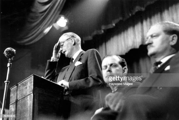 British Prime Minister Anthony Eden mops his brow at the Conservative Party conference at Llandudno The Suez Crisis was to break him Resignation lay...