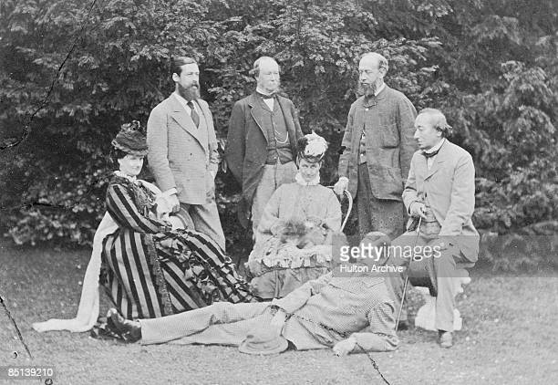 British Prime Minister Benjamin Disraeli with friends at his home Hughenden Manor Buckinghamshire 1874 left to right Selina WeldForester Countess of...