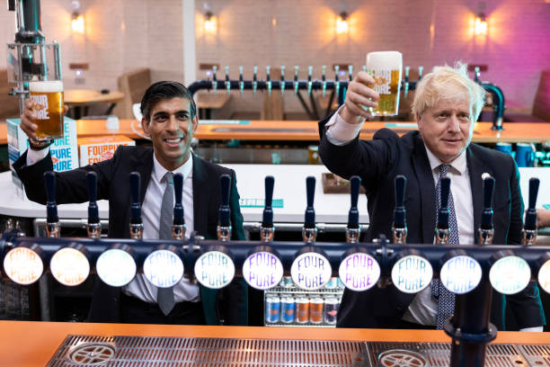 GBR: Johnson And Sunak Visit Brewery In South East London