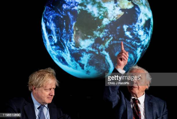 British Prime Minister Boris Johnson and British broadcaster and naturalist Sir David Attenborough attend the launch of the UK-hosted COP26 UN...