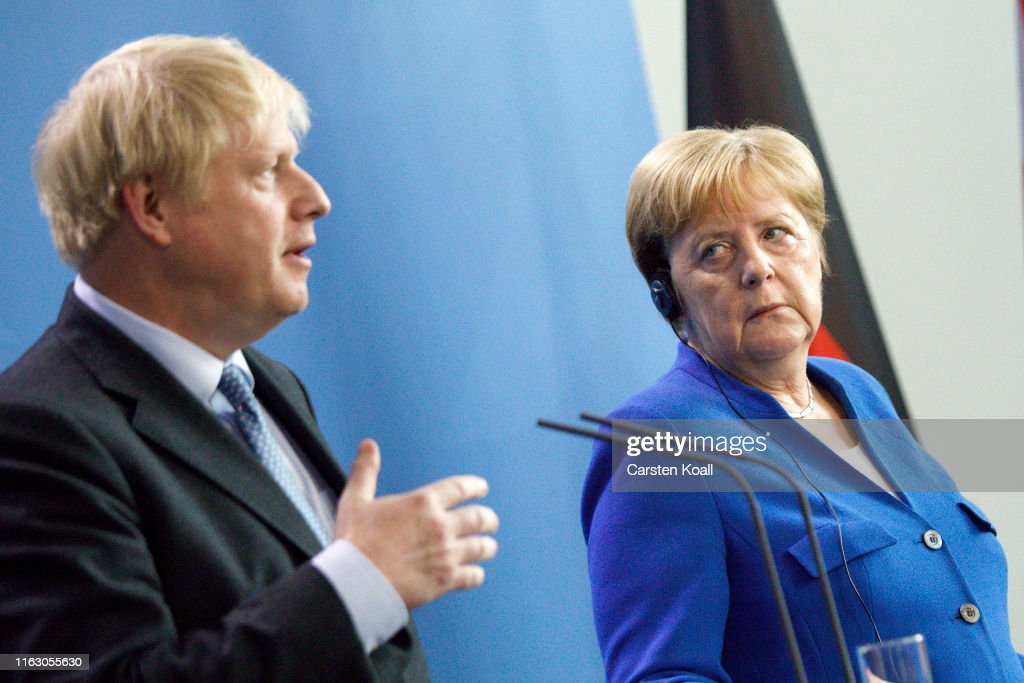 Boris Johnson Meets With Angela Merkel In Berlin : News Photo