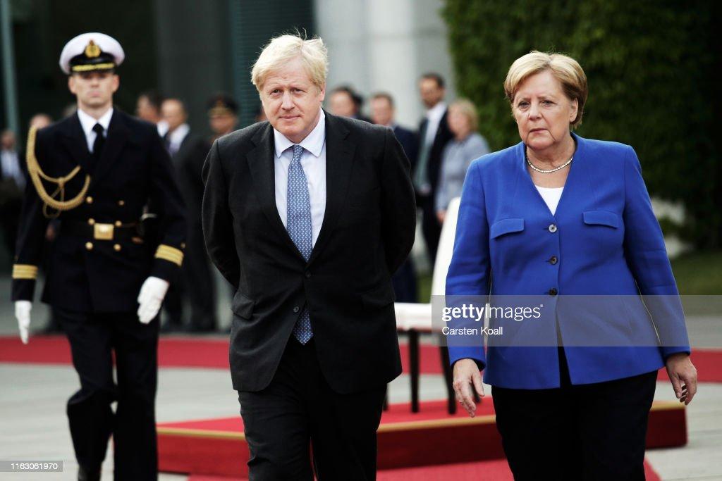 Boris Johnson Meets With Angela Merkel In Berlin : News Photo