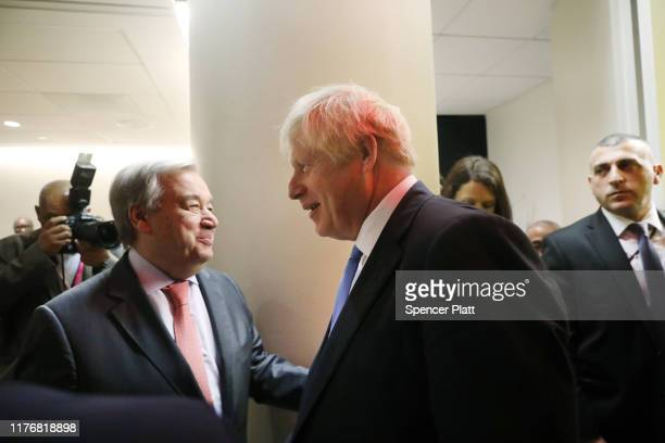 British Prime Minister Boris Johnson arrives for a meeting with United Nations Secretary-General Antonio Guterres at the U.N. General Assembly on...