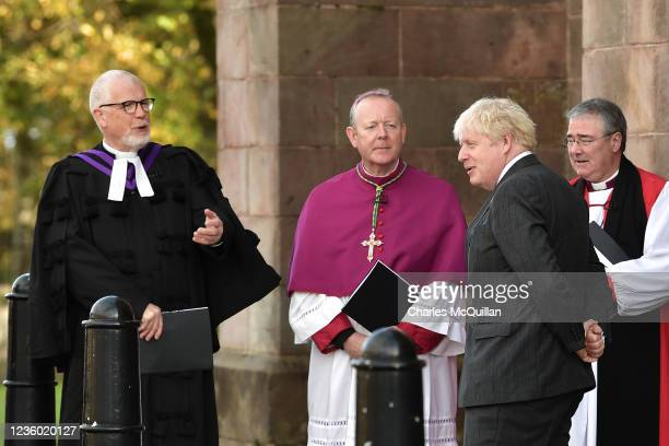 """British Prime Minister Boris Johnson attends a service of """"Reflection & Hope"""" to mark the centenary of Northern Ireland at Saint Patrick's Church of..."""