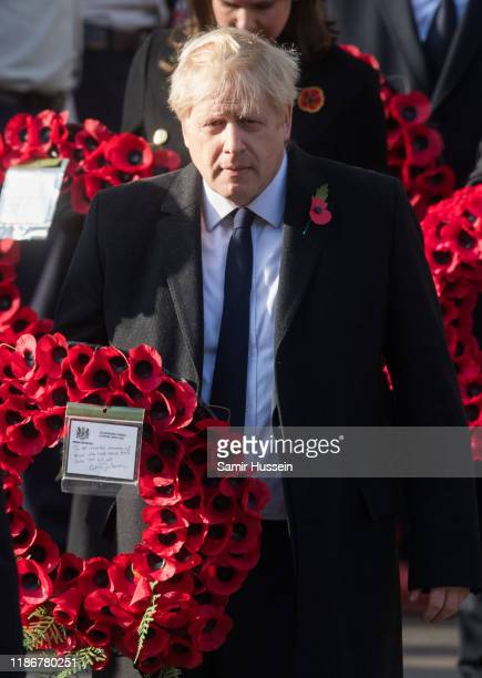British Prime Minister Boris Johnson attends the annual Remembrance Sunday memorial at The Cenotaph on November 10, 2019 in London, England.
