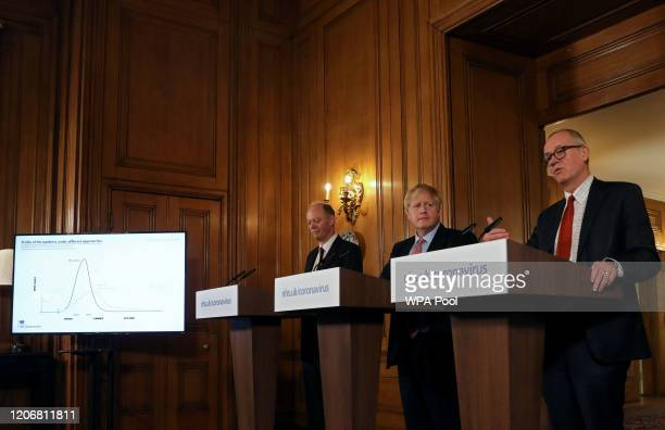 British Prime Minister Boris Johnson Chief Medical Officer for England Chris Whitty and Government Chief Scientific Adviser Sir Patrick Vallance hold...