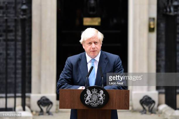 British Prime Minister Boris Johnson delivers a speech at 10 Downing Street on September 2, 2019 in London, England. Boris Johnson spoke to the...