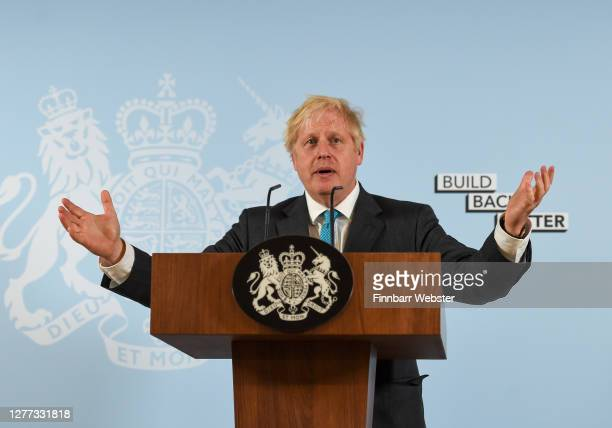 British Prime Minister Boris Johnson delivers a speech at Exeter College Construction Centre, part of Exeter College on September 29, 2020 in Exeter,...