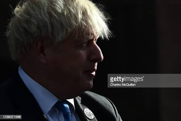 """British Prime Minister, Boris Johnson departs following a service of """"Reflection & Hope"""" to mark the centenary of Northern Ireland at Saint Patrick's..."""