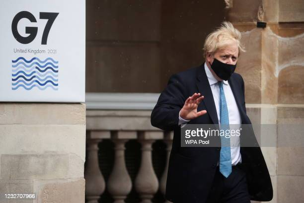 British Prime Minister Boris Johnson departs from the G7 foreign ministers' meeting on May 5, 2021 in London, England. Representatives from G7...