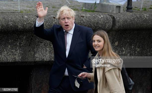 British Prime Minister Boris Johnson during a visit to Falmouth's Maritime Museum to thank them for hosting the media centre for the G7 Summit on...
