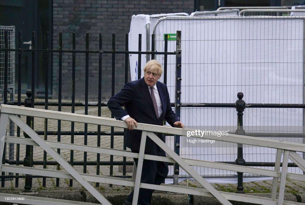 Boris Johnson Visits Falmouth Before G7 Summit Begins On Friday : News Photo