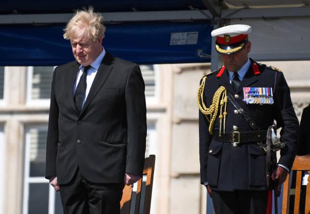 GBR: UK Prime Minister Visits Britannia Royal Naval College To Commemorate The Duke of Edinburgh