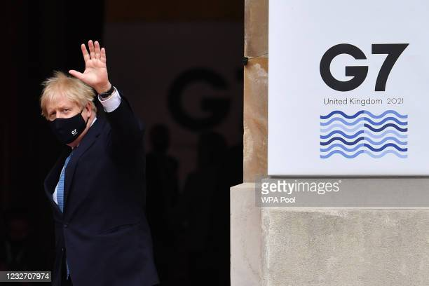 British Prime Minister Boris Johnson gestures as he arrives for the G7 foreign ministers' meeting on May 5, 2021 in London, England. Representatives...