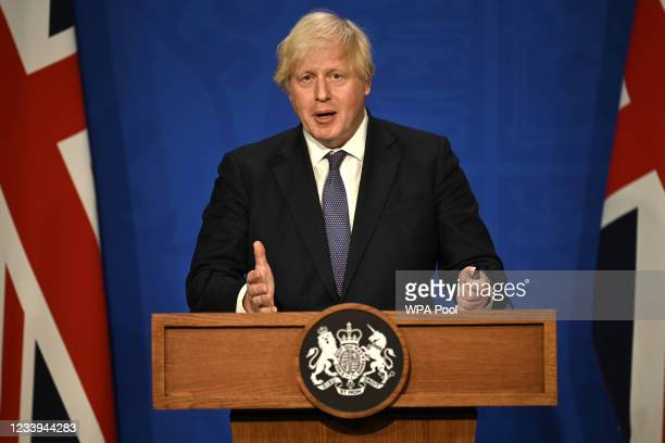 British Prime Minister Boris Johnson gives an update on relaxing restrictions imposed on the country during the coronavirus covid-19 pandemic at a...