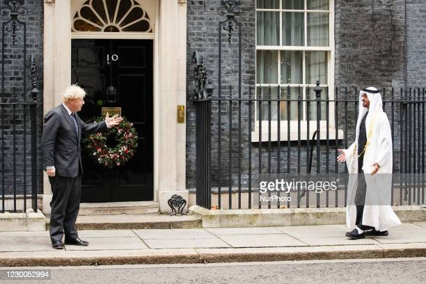 British Prime Minister Boris Johnson greets Crown Prince Mohammed bin Zayed al-Nahyan of Abu Dhabi outside 10 Downing Street in London, England, on...