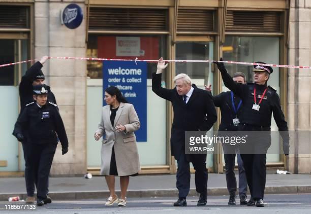 British Prime Minister Boris Johnson Home Secretary Priti Patel London police chief commissioner Cressida Dick and City of London commissioner Ian...
