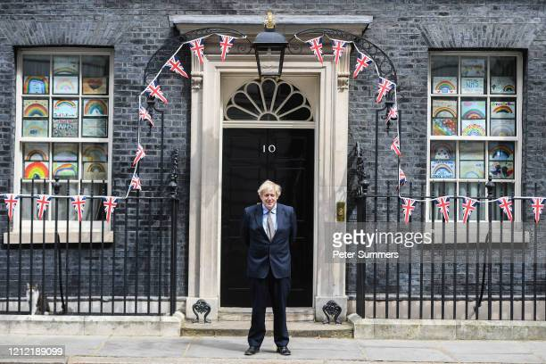 British Prime Minister Boris Johnson is seen outside Number 10 Downing Street on May 8, 2020 in London, United Kingdom.The UK commemorates the 75th...