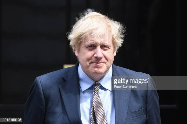 British Prime Minister Boris Johnson is seen outside Number 10 Downing Street on May 8 2020 in London United KingdomThe UK commemorates the 75th...