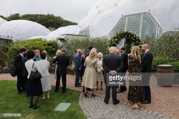 British Prime Minister Boris Johnson is seen with wife Carrie Johnson , United States President Joe Biden, First Lady Jill Biden, German Chancellor...