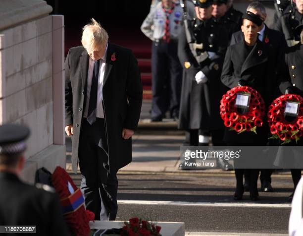 British Prime Minister Boris Johnson lays a wreath during the annual Remembrance Sunday memorial at The Cenotaph on November 10 2019 in London England