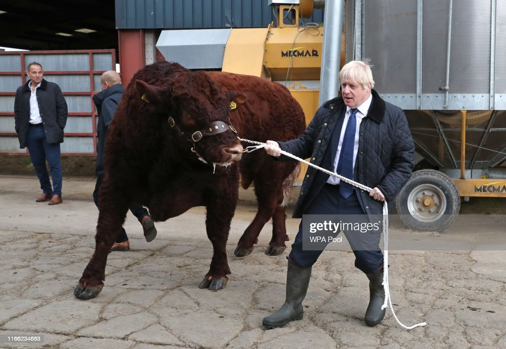 Boris Johnson Visits Aberdeenshire To Announce Additional Funding For Scottish Farmers : ニュース写真