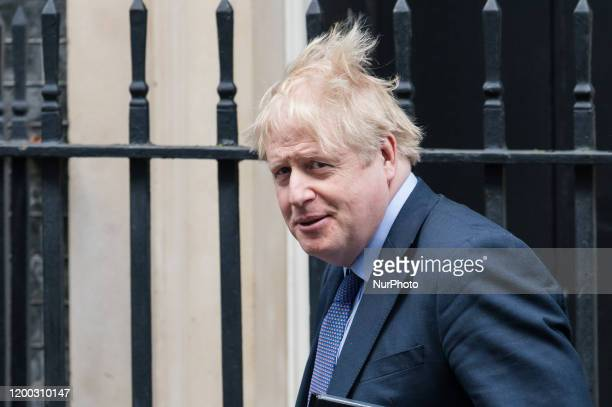 British Prime Minister Boris Johnson leaves 10 Downing Street for PMQs at the House of Commons on 12 February, 2020 in London, England.