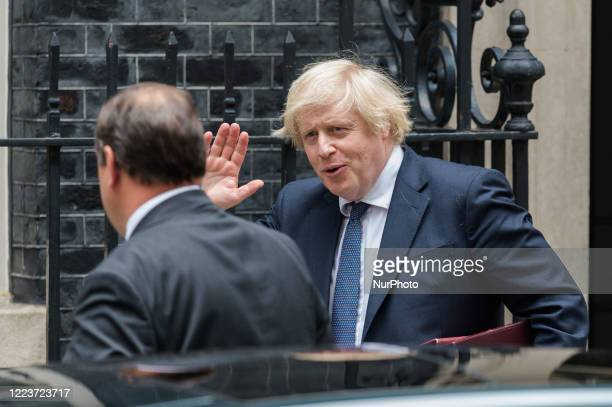 British Prime Minister Boris Johnson leaves 10 Downing Street for PMQs at the House of Commons on 01 July, 2020 in London, England.