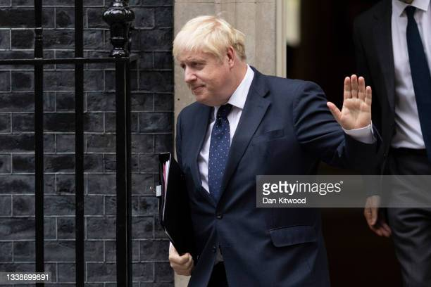 British Prime Minister Boris Johnson leaves 10 Downing Street to deliver a statement on Afghanistan in the House of Commons on September 06, 2021 in...