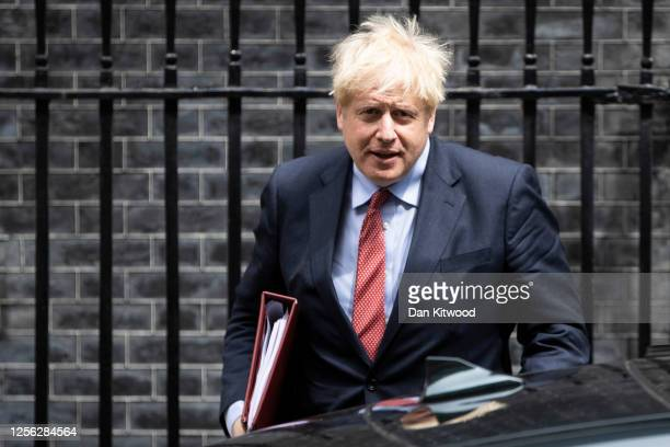 British Prime Minister Boris Johnson leaves 10 Downing Street to attend the weekly Prime Minister's Questions on July 15, 2020 in London, England.